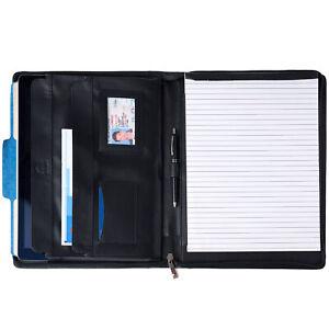 Alpine Swiss Leather Zippered Writing Pad Portfolio Business Briefcase Organizer