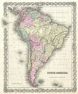 South america world map vintage print canvas poster fits 36 x 24 image is loading south america world map vintage print canvas poster gumiabroncs Gallery