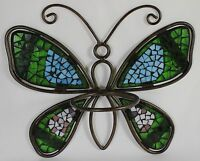 Mosaic Butterfly Flower Pot Holder Metal Glass Garden Wall Hanging Planter