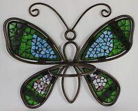 Mosaic Butterfly Flower Pot Holder Metal Glass Garden Wall Hanging Planter