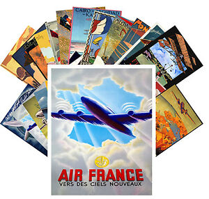 Postcards-Pack-24-cards-Aviation-Planes-Vintage-European-Travel-Posters-CC1058