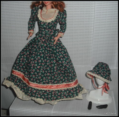 OUTFIT BARBIE DOLL  AMERICAN STORIES PIONEER FLOWER PRINT DRESS GOWN ACCESSORY