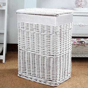 Image Is Loading Large Medium Rectangular White Wicker Laundry Linen Bin
