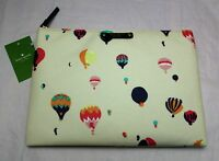 Kate Spade Gia Get Carried Away Large Clutch Pouch - Cream W/ Hot Air Balloons