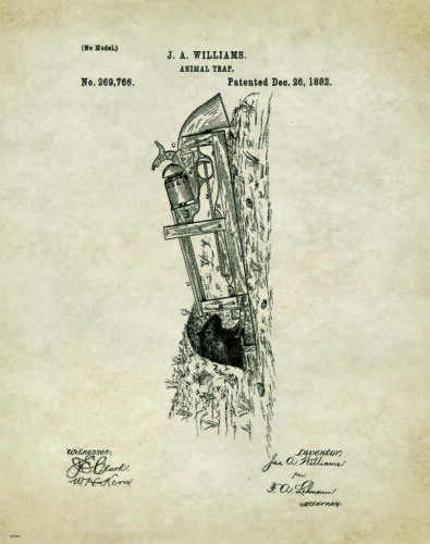Vintage Animal Trap Revolver Patent Poster Art Print Trapping Victor Gun PAT105