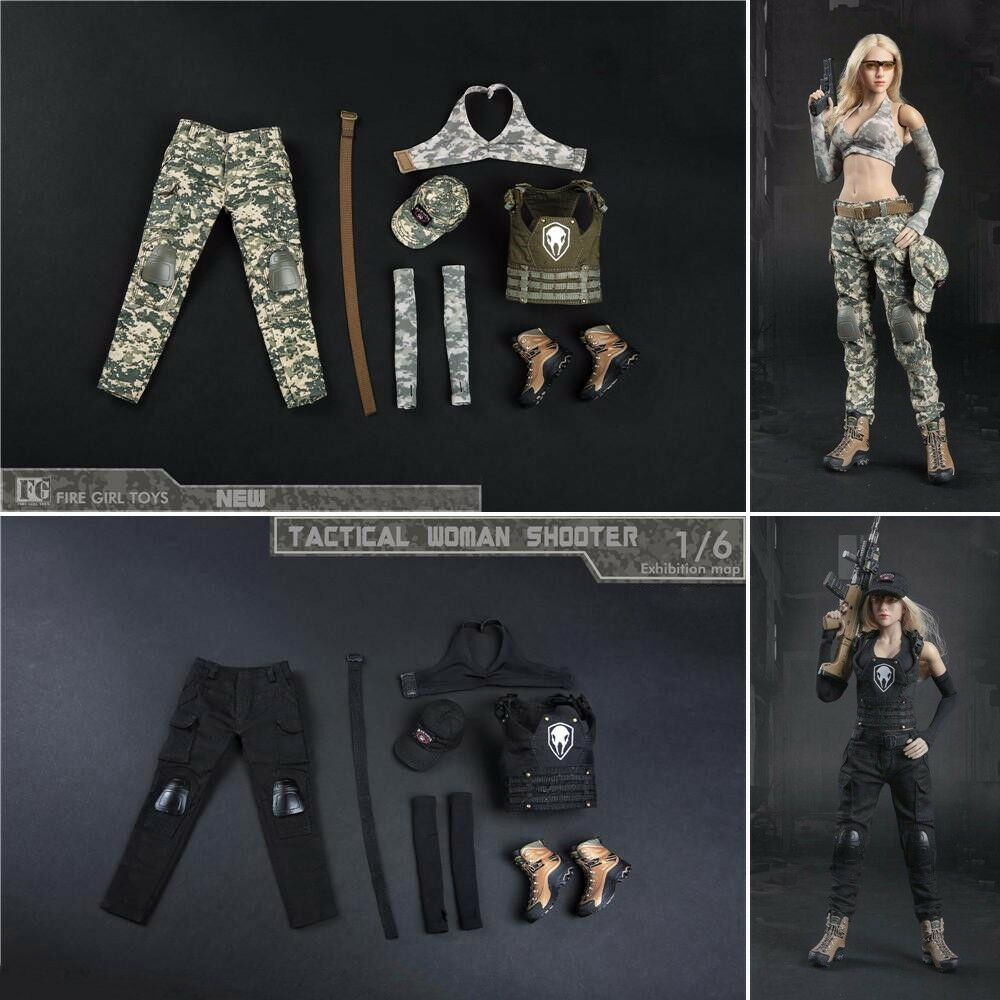 1 6 Scale Female Camouflage Tactical Shooter Clothing Set For 12'' Phicen Figure