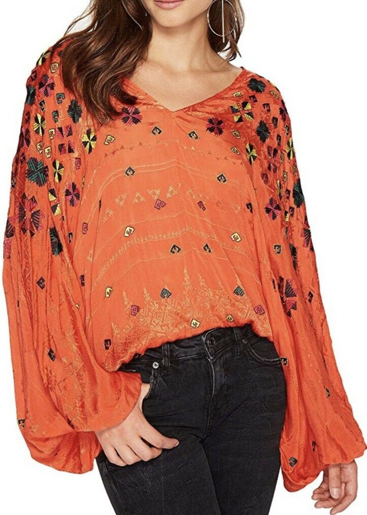 Free People Music In Time V-Neck Long Sleeve Embellished Blouse Small New 168