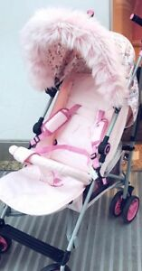 Hood fur trim fit my Babiie  Pram , pushchair,   Baby pink