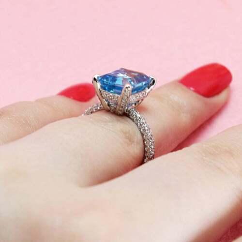 3Ct Emerald Cut Aquamarine Diamond Halo Engagement Ring 14k White Gold Finish