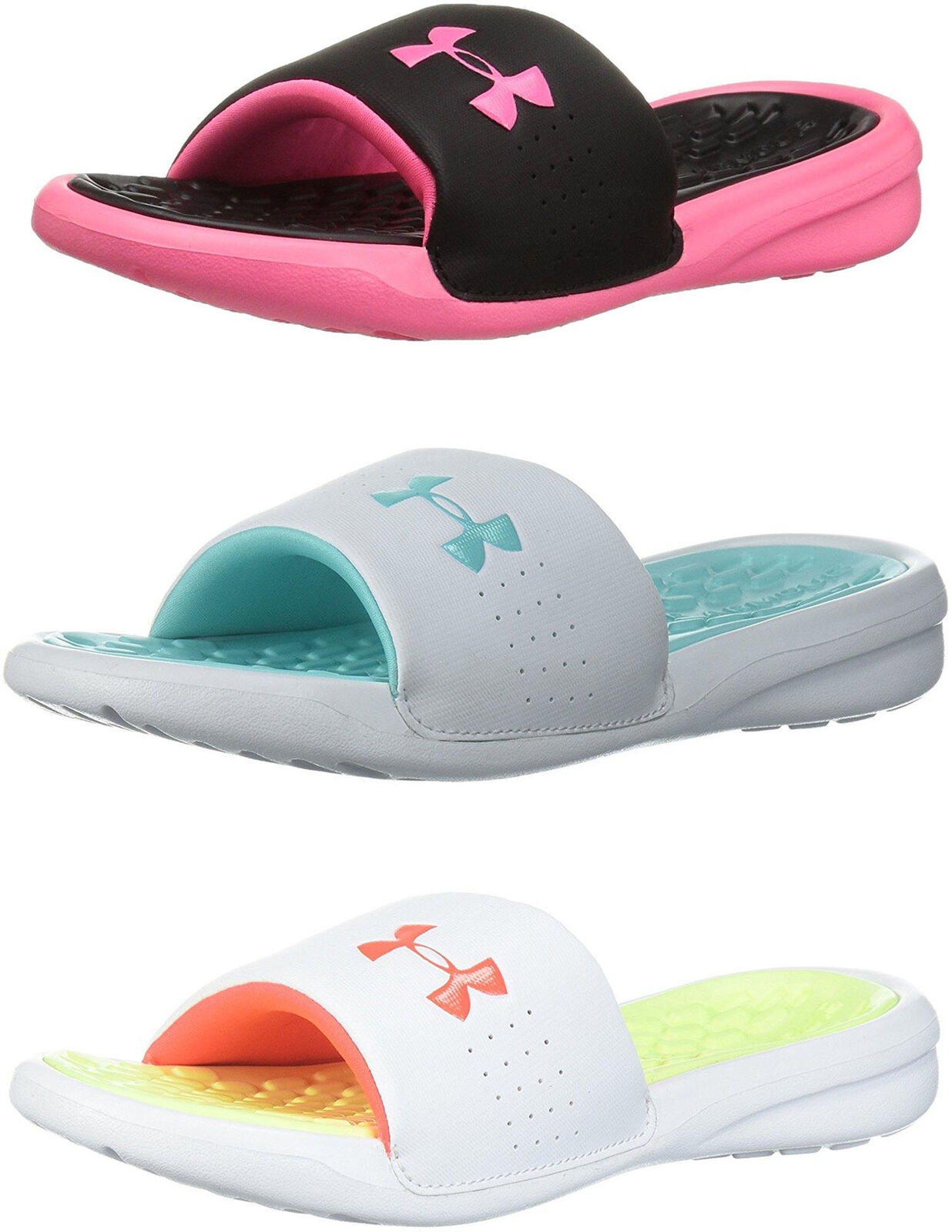 Girls Under Armour Slides Playmaker Fixed Strap Pink Post Work Out Sandals NEW