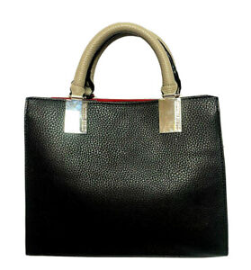 Steve Madden Purse/Handbag - Pebble Texture - Black w Taupe Handles