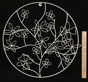 Details About Fl Flower Wall Decor Hanging Round Picture White Metal Wire 20