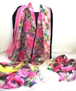 Ein-Hauch-von-Schal-Tuch-Blumen-weiss-pink-gelb-Farbauswahl-zart-leicht-Neu