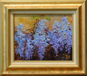 Wisteria-Original-framed-oil-on-canvas-8-034-x10-034-painting