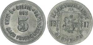 5 Pfennig Emergency Money Probe 1917 Germany/Garmisch Rarely, RAR XF (46071)
