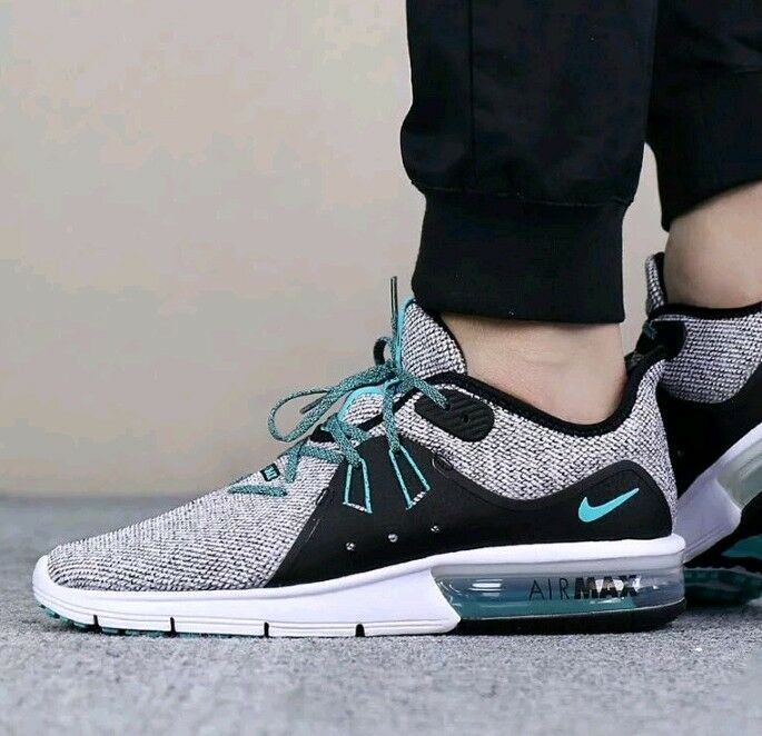 Nike Air Max Sequent 3 Men's White Hyper Jade Black 921694 100 Sz US 10.5