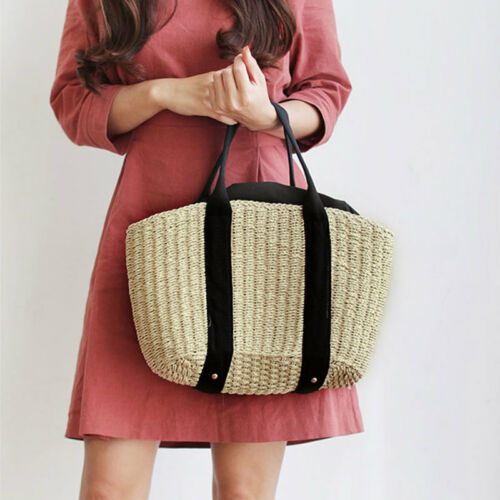 Hand Knitted Wicker Straw Bag Casual Summer Ladies Beach Handbag Basket Holiday