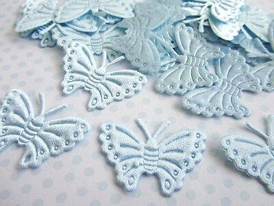 144 Satin Figure Applique/Sewing Trim/Paper Craft Decoration A6-Butterfly-Blue