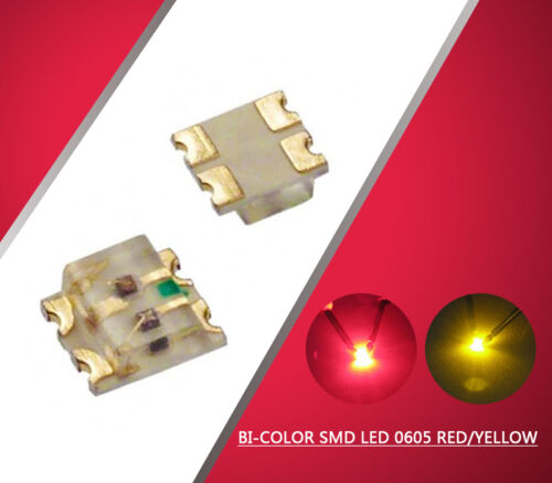 0605RY 100pcs SMD LED 0605 Bi-Color Red//Yellow  LEDs  Everest NEW