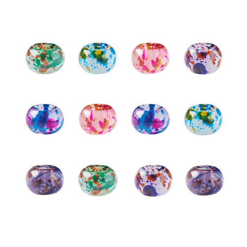 10pc Spray Painted Glass Large Hole Beads Rondelle Smooth Loose Spacer 8~9x5.5mm