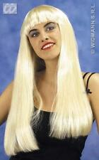 Long Blonde Wig With Fringe Lady Gaga Pop Star Fancy Dress