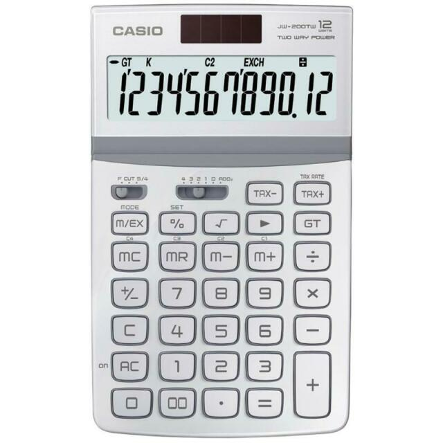 New Casio Basic Calculator JW-200TV-WE JW200TV White