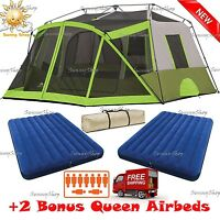 Ozark Trail 9 Person Instant Cabin Tent Family 2 Room Camping Outdoor Hiking