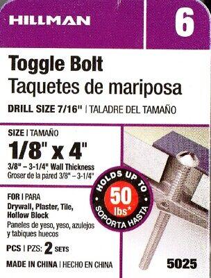 Round Head Machine Screw Toggle Bolt 1//4 x 4