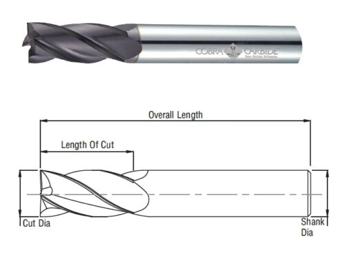 Cobra Carbide 24576 9 MM Carbide End Mill 4 FL Uncoated Metric OAL 75 MM