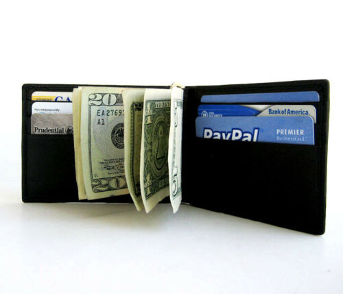 MEN/'S GENUINE LEATHER SPRING TYPE MONEY CLIP BIFOLD WALLET FRONT POCEKT