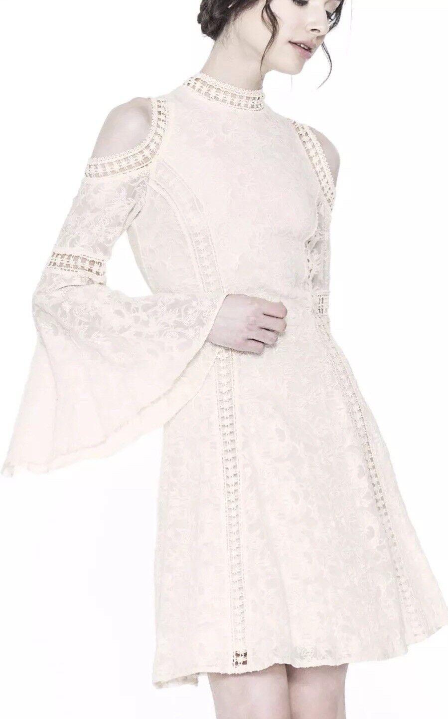 Alice + Olivia Enya Cold Shoulder Lace Dress Ivory Size 6 NWOT