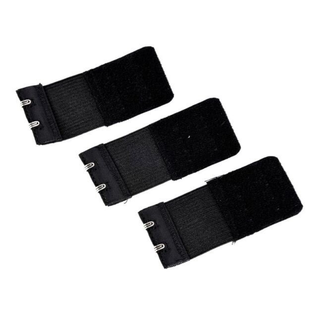 3pcs Woman 2 x 2 Hook and Eye Tape Elastic Extension Bra Extender Black W5F4 R8