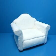 Dollhouse Miniature Arm Chair in White Soft Fleece Material ~ T6296