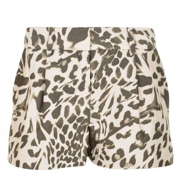 NWT- DVF Naples Mikado Wool Silk Blend Shorts, Leopard Landscape Print - Size 12