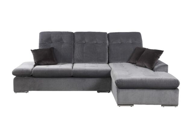 Modern Microfiber Sectional Sofa With Chaise - L Shape Couch (Dark Grey)