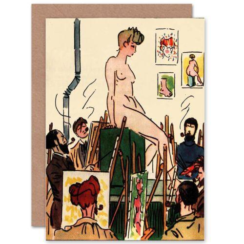 Peinture livre CARLEGLE EGLI les linottes artiste nude modèle Vierge Carte de vœux