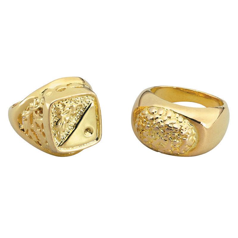 1 x 80s Fancy Dress Gold Coloured Metal Ring Del Boy Bling Pimp Rapper Chav New