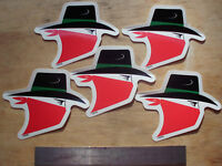 5-vintage Original Skoal Bandit Head Stickers Appro.3.75 Inches By 3inches