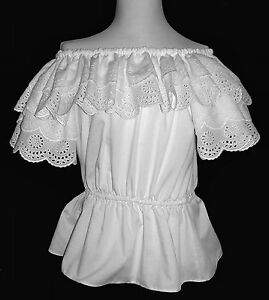 White Classic Peasant Blouse with Double Ruffled Eyelet ...