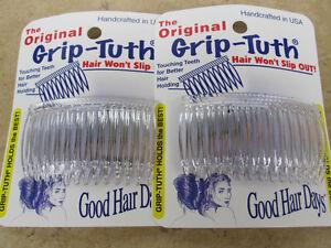 2-Sets-of-2-Clear-Grip-Tuth-Hair-Combs-4-combs-2-3-4-034-Good-Hair-Days-USA-414