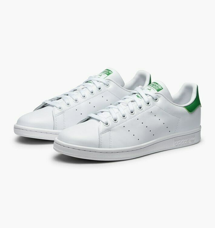 ADIDAS ORIGINAL STAN SMITH herren CASUAL TRAINERS - UK 9.5 - Weiß Grün LACE UP