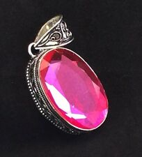 Large Faceted Pink Mystic Topaz Vintage Style Sterling Silver Pendant