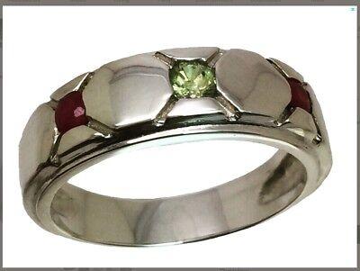14k Rhodolite Garnet Ring Yellow USA made. Rose Gold FREE Sizing White