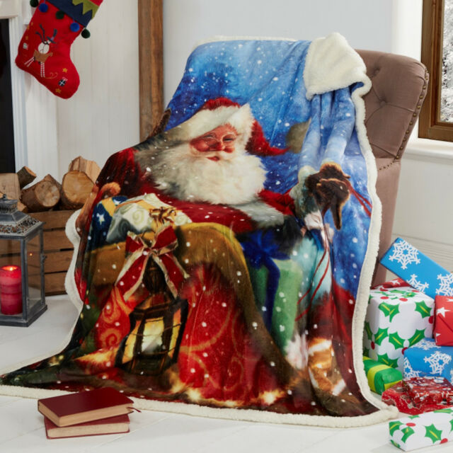 Santa Sleigh Father Christmas Supersoft Blanket Fleece Throw 40cm X Unique Christmas Fleece Throws Blankets