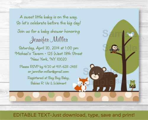 Bear Fox Owl Forest Friends Printable Baby Shower Invitation Editable PDF