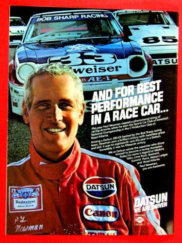 "1980 Paul Newman Datsun Racing-Budweiser Original Print Ad 8.5 x 11 /"""