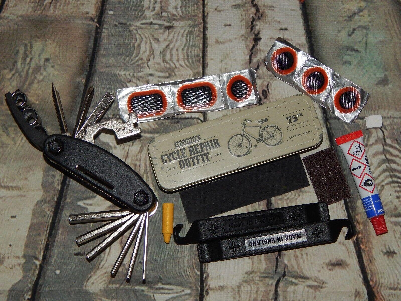 Vélo Réparation Set Cadre Cadre Set Sac en cuir, multi-outil Kit anti-crevaison Noir c1e59d
