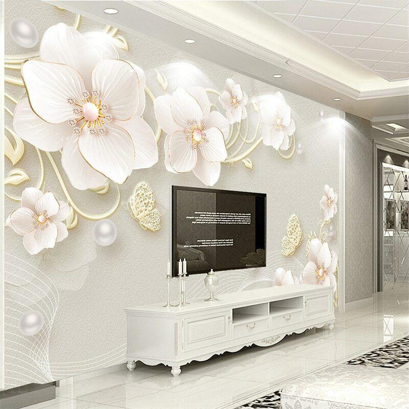 3D Flower Floral Butterfly Modern Wall Mural Wallpaper Room ...