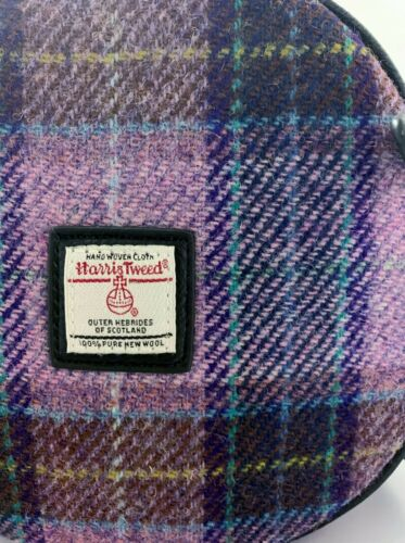 GENUINE HARRIS TWEED ROUND HANDBAG CROSSBODY BANNOCK PINK CHECK LB 1204 COL 34