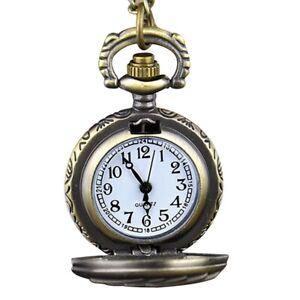 3X-Retro-Steampunk-Bronze-montre-de-poche-a-quartz-pendentif-chaine-horloge-9U3